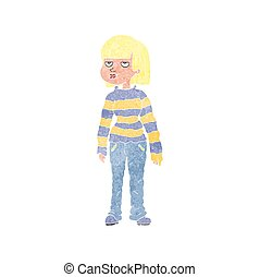 retro cartoon woman in casual clothes - freehand retro...
