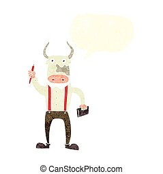 retro speech bubble cartoon bull man - freehand drawn retro...