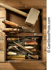 artist hand tools for handcraft works on golden wood...