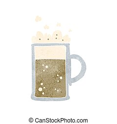 retro cartoon tankard of beer - freehand retro cartoon...