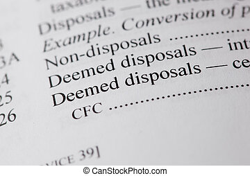 Disposal - The words deemed disposal on white paper