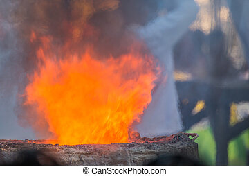 flame during the molten metal, Casting