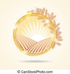 Abstract vector illustration of a wheat field at sunset....