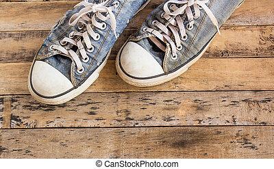 madeira, antigas, sapatos, chão