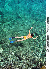 Above view of woman snorkeling in the sea