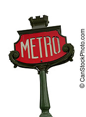 Paris metro sign. - Paris metro sign isolated on white...