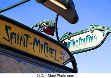 Paris metro sign. Saint Michel station