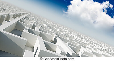 3d infinity maze under sky with cloud