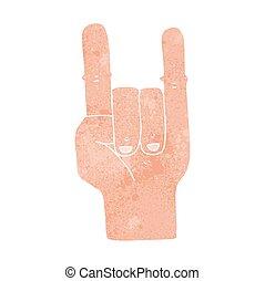 retro cartoon devil horns hand symbol - freehand retro...