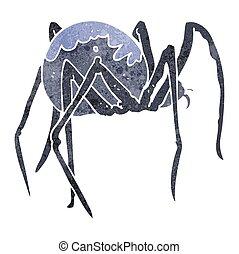 retro cartoon creepy spider - freehand retro cartoon creepy...