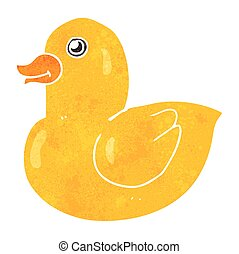 retro cartoon rubber duck - freehand retro cartoon rubber...