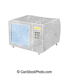 retro cartoon microwave - freehand retro cartoon microwave