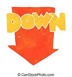 retro cartoon down arrow symbol - freehand retro cartoon...