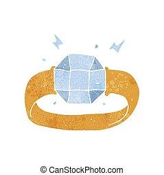 retro cartoon ring with huge gem - freehand retro cartoon...