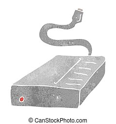 retro cartoon hard drive - freehand retro cartoon hard drive