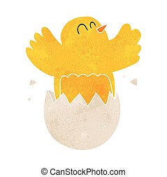 retro cartoon hatching egg - freehand retro cartoon hatching...