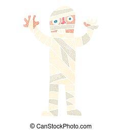 retro cartoon bandaged mummy - freehand retro cartoon...