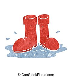 retro cartoon wellington boots in puddle - freehand retro...