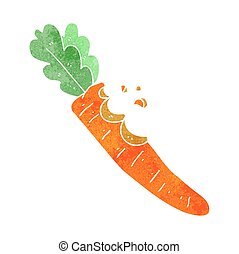 retro cartoon bitten carrot - freehand retro cartoon bitten...