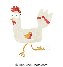 retro cartoon chicken running