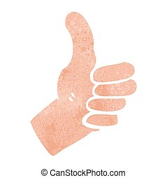 retro cartoon thumbs up sign
