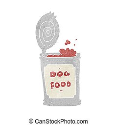 retro cartoon dog food - freehand retro cartoon dog food