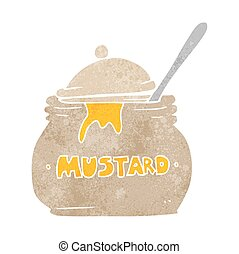 retro cartoon mustard pot - freehand retro cartoon mustard...