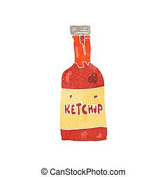 retro cartoon ketchup - freehand retro cartoon ketchup
