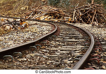 Turn in an abandoned railroad - An abandoned rairoad turns...