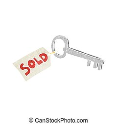 retro cartoon new house key - freehand retro cartoon new...