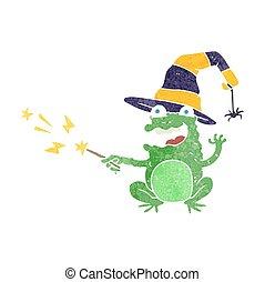 retro cartoon toad casting spell - freehand retro cartoon...