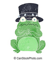 retro cartoon wealthy toad - freehand retro cartoon wealthy...