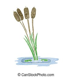 retro cartoon reeds - freehand retro cartoon reeds
