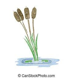 retro cartoon reeds - freehand retro cartoon reeds