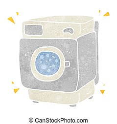 retro cartoon rumbling washing machine - freehand retro...
