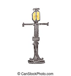 retro cartoon street lamp - freehand retro cartoon street...