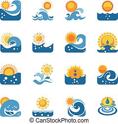 Blue Wave With Sun Icons Set - Blue swirling waves flat...