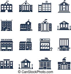 Government Building Black Icons Set - Government building...