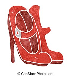 retro cartoon high heeled shoes - freehand retro cartoon...