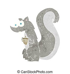 retro cartoon squirrel with nut