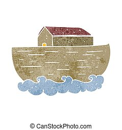 retro cartoon noah's ark - freehand retro cartoon noah's ark