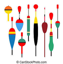 Fishing bobber vector set. Fishing tools illustration....