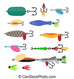 Fishing lure vector set. Fishing tools illustration. Fishing...