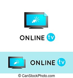 Online TV. Watching videos on the Internet. Vlog vector logo. Online Media content.