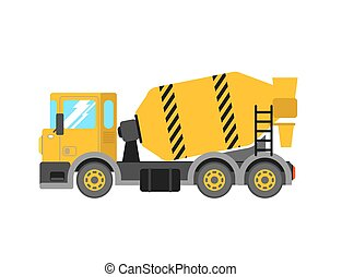 Construction cement mixer truck. Building concrete mixer...