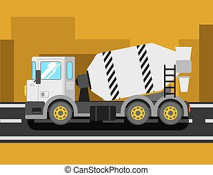Construction cement mixer truck Building concrete mixer car...