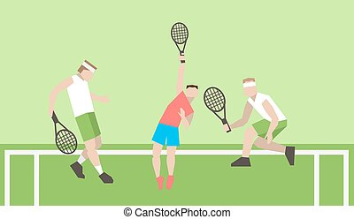 Professional tennis players on the tennis court Strokes with...