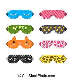 Sleep mask vector set. Night sleeping mask vector icon....