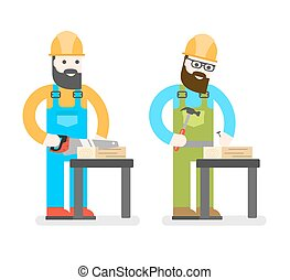 Construction worker with saw. Man sawing a Board. Woodworker...
