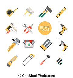 Home repair tools vector icons. Working repair tools for repair and construction. Hand drill, saw, level, hammer, screwdriver and other construction tools. Home repair set isolated on white background.